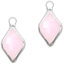 Per stuk Hangers van crystal glas rhombus 10x14mm Light pink opal-silver