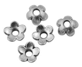 10 stuks tibetaans zilveren kralenkapjes 6,5 x 6,5 x 2 mm gat 2mm