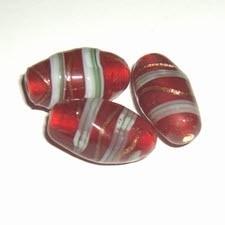 10x Rode kraal + streep, 22x12mm