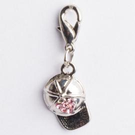 Be Charmed petje bedel met karabijnsluiting zilver met een rhodium laag (nikkelvrij)