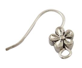 Tibetaans zilveren oorbellen haakjes met bloem 18x18mm per paar (2 stuks)