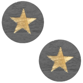 1 x Houten cabochon star 12mm Dark grey