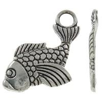 10x Tibetaans zilveren bedeltje van een vis 27 x 15 x 1,50mm, Gat: c.a. 4mm