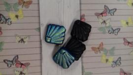 Per stuk Glaskraal waaier zwart olie-glans 18 mm