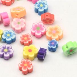 10 stuks vrolijke gemixte handgemaakte polmeerklei bloemen kralen 8mm