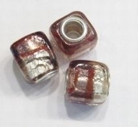 Per stuk European-style kraal vierkant zilverfolie wit/roze 13 mm