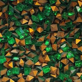 10 x  punt steen vierkant kristal afm. 4x4mm Emerald