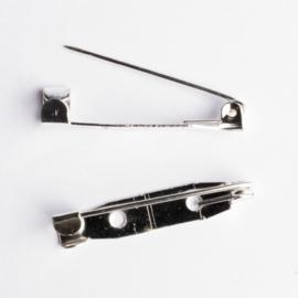 10 x  broche speld zilverkleurig met 2 gaten 30 mm x 6 mm gat: 2mm