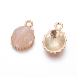 2 x Metalen bedels shell light gold peach ca. 19 x13 x 4mm oogje 1,4mm