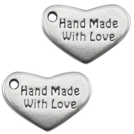 "Bedels DQ hart ""hand made with love"" Antiek zilver 10 x 15mm"