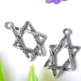 2 x tibetaans zilveren Hexagram 23 x 13mm (Davidsster)