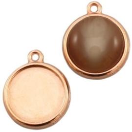 1x DQ metaal settings 1 oog voor 12 mm cabochon Rosé goud ca. 20 x 16 mm (voor cabochon 12mm)