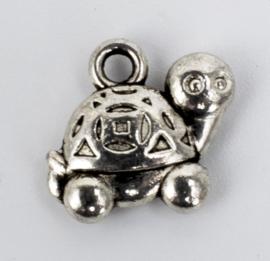 10x Tibetaans zilveren bedel van een schildpad 12,5 mm x 11,5 mm