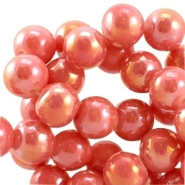 20 stuks Diamond coated glaskralen 6mm   	Camelia red orange