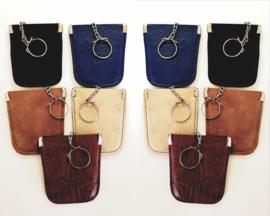 10 x Sleutel etui - faux leder kleur mix model A