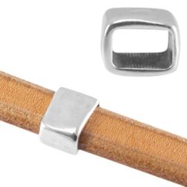 DQ metaal schuiver blok leer/koord Antiek zilver (nikkelvrij) 13 x 10mm Ø 10 x 7mm