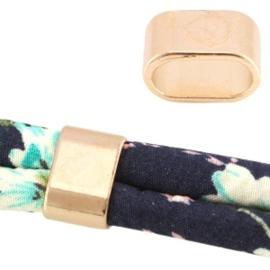 2x Basic quality gesloten tussenzetsel connector metalen ring ovaal Ø10.5x5mm light rose gold