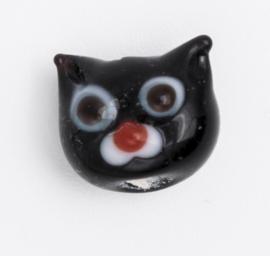 5 x zwarte glaskraal poes 11 x 12 x 9 mm; Gat 3 mm Handgemaakt