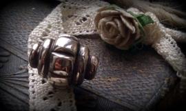 Per stuk tibetaans zilveren metallook kraal 15 x 12 mm