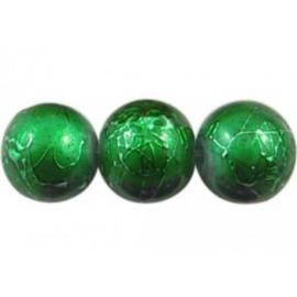 25 stuks Glaskraal rond groen gemêleerd 8 mm gat: 1mm