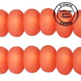 5 x Polaris kralen matt disc 8mm Hyacinth oranje groot gat 2,5mm
