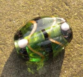 Prachtige ovale glaskraal 24 x 18 x 10mm