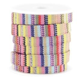 20 cm Trendy gestikt koord plat Aztec 10mm Multicolor geel