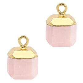 1 x Natuursteen hangers square White rose-gold Berg Kristal