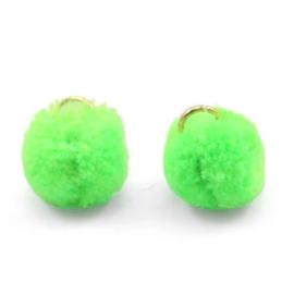 2 x Pompom bedel met oog 15mm Neon green