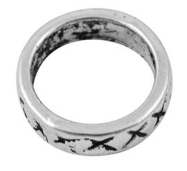 10 stuks gesloten ringen van Tibetaans zilver 14 x 3,5mm gat: 11mm