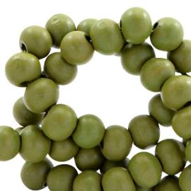 40 x Houten kralen rond 6 mm Green moss