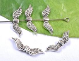 10 stuks tibetaans zilveren engelen vleugel 7 x 23 x 3mm gat: 1,5mm