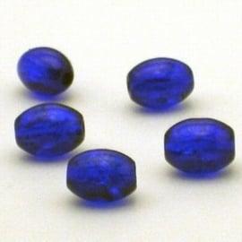 30 stuks crackle glas kralen ovaal 11 x 8,5mm donker blauw