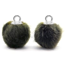 2 x Pompom bedels met oog faux fur 12mm Olive grey-silver