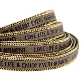 20 cm Quote imi leer 10mm met schakelketting goud Love life Olive green ♥