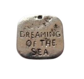 10x Tibetaans zilveren bedel Dreaming of the Sea 19 x 19 x 2mm gat: 2mm