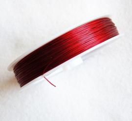 Rijgdraad met coating 0,38 mm x 100 meter rood bruin