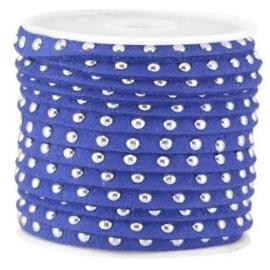 20 cm Imi. Suède leer 5mm met studs zilver Cobalt blue