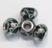 Per stuk Glaskraal European-style zwart met groen en roze roosje 14 mm