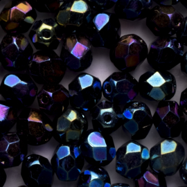 15  x ronde Tsjechië  kraal kristal facet 7mm kleur: ab blauw paars grijs gat: 1mm