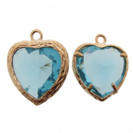 Bedel metaal hart cubic zirconia facet aqua blauw rosé goud 16x19mm