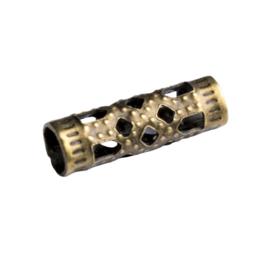 10 x filigraan buis kraal geelkoper kleur 12 x 4mm gat: 3mm