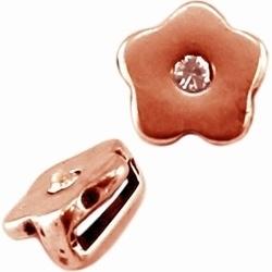 Per stuk metalen Ibiza schuiver bloem met swarovski Rose Gold  Ø10mm