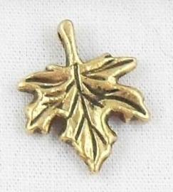 6 x Tibetaans Zilveren Blad 17x14 x 2,5mm goud kleur