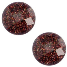 2 x Basic cabochon 10mm Diep paars-rood glitter