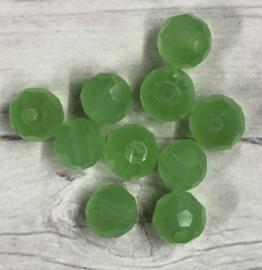 10 stuks mat groene glaskralen met facet 5mm gat 1mm