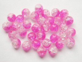 30 x Crackle kraal  8mm  roze Gat: 1,5mm