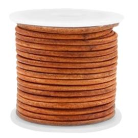 50 cm DQ Leer rond 2 mm Vintage copper brown