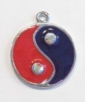 Per stuk Metalen hanger Yin Yang met rood/paarse epoxy 30 mm