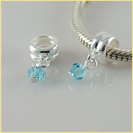 Bead Steentje Zacht blauw Materiaal: 925 Sterling Zilver